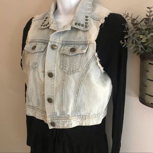 Distressed denim vest with studded collar